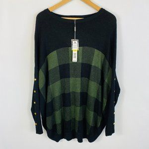 Joseph A Sweater Plaid Check Button Accents Long